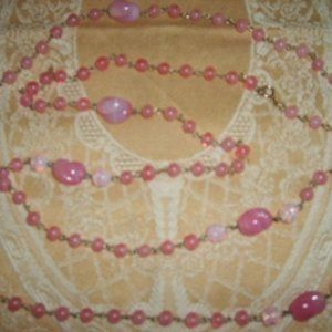 """Vintage Necklace Beautiful Pink Glass Beads 28.5"""""""